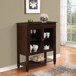 WyndenHall - Richland Collection Dark Tobacco Brown Medium Storage Media Cabinet and Buffet - The Richland medium storage cabinet makes a wonderful addition to any kitchen,dining room or living room furniture arrangement. Store your fine china,movies or favorite decor pieces in the cabinet or open bottom shelf.