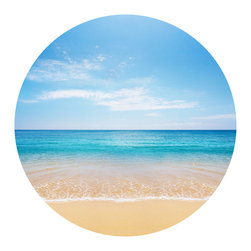 WallsNeedLove - Beautiful Beach Circle Wall Decal - Close your eyes and image crystal blue waters, sandy beaches, adult beverages decorated with tiny umbrellas, the sounds of tiny waves as they crash along the shore. Just a tease I know, but this lovely adhesive wall decal is a great way to help you pretend. Simply stick and love.
