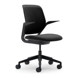 Steelcase - Steelcase Cobi Chair, Black Frame w/Arms & Soft Castors, Licorice - Is your office ready to handle a touch of brilliance? This chair is designed according to longstanding research observation for complete flexibility and comfort over long periods of time. It also comes in an outstanding array of beautifully creative colors, all supported on a solid black base.