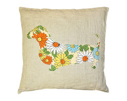 Kathy Kuo Home - Dachshund Floral Print Rustic Linen Large Down Throw Pillow - Here's a hot dog you can't resist. This darling dachshund is filled with bursting floral blooms, all hand-printed on 100 percent linen. At 24 inches square, it comes with its own down insert, making it one plush petal-covered pooch.