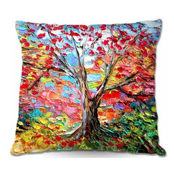 DiaNoche Designs - Pillow Woven Poplin - Story of the Tree 59 - Toss this decorative pillow on any bed, sofa or chair, and add personality to your chic and stylish decor. Lay your head against your new art and relax! Made of woven Poly-Poplin.  Includes a cushy supportive pillow insert, zipped inside. Dye Sublimation printing adheres the ink to the material for long life and durability. Double Sided Print, Machine Washable, Product may vary slightly from image.