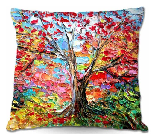 DiaNoche Designs - Pillow Woven Poplin from DiaNoche Designs - Story of the Tree 59 - Toss this decorative pillow on any bed, sofa or chair, and add personality to your chic and stylish decor. Lay your head against your new art and relax! Made of woven Poly-Poplin.  Includes a cushy supportive pillow insert, zipped inside. Dye Sublimation printing adheres the ink to the material for long life and durability. Double Sided Print, Machine Washable, Product may vary slightly from image.
