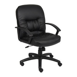 BossChair - Boss Mid Back Leatherplus Chair with Knee Tilt - Beautifully upholstered in black LeatherPlus. LeatherPlus is leather that is polyurethane infused for added softness and durability. Executive Mid Back styling with extra lumbar support . Extra thick seat and back cushion. Pneumatic gas lift provides instant seat height adjustment. Adjustable tilt tension control. Upright locking control. Durable polypropylene armrests. Large 27 nylon base for greater stability. Hooded double wheel casters. Matching guest chair with cantilever base (B7309). Comes standard with knee-tilt mechanism.