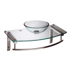 Renovators Supply - Console Sinks Clear Glass/Chrome Wall Mount Console Sink - Boston Harbor wall mount tempered glass vessel sink. Faucet not included--check our huge selection. Counter 27 3/4 in. wide x 15 7/8 in. proj in middle x 13 in. proj. on each side. Bowl 11 3/4 in. in dia. x 4 in. deep.