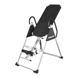 Sunny Health & Fitness Inversion Table - Takes strain off discs; helps loosen muscle tensionHelps relieve back pain and stimulate blood circulationReduce the aging effects of gravityUsing your own body's leverage you can raise and lower your arms to create a rocking motionDurable nylon back and sturdy frame for safe inversion and efficient weight cradlingPadded locking ankle bar for comfort and security while invertedHandles are easy to reach to provide complete control and safetyHeight-adjustable bar fits users from 4 ft. 10 in. to 6 ft. 6 in.Manufacturer's warranty included - see Product Guarantee area for complete detailsAbout Sunny Health & FitnessSunny Health & Fitness has been importing and distributing high-quality health and fitness products for over ten years. From their headquarters in Los Angeles California they import equipment from direct sources in Taiwan and China to provide more competitive pricing than the average health and fitness equipment distributor. Because they are committed to excellence and stand behind the quality of every one of their products Sunny Health & Fitness has become one of the fastest-growing companies in the market.