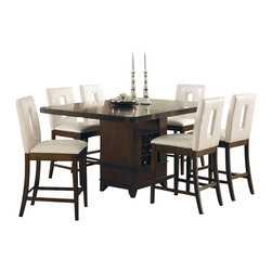 Homelegance - Homelegance Elmhurst 7 Piece Counter Height Dining Table Set in Cherry - Homelegance - Dining Sets - 1410367 - The stylish contemporary design of the Elmhurst Collection creates a perfect enhancement to any dining room d cor. A smooth brown cherry finish over beautiful cherry veneers highlights each piece in this modern collection. The distinct table designs include: counter and traditional dining height tables that feature wine base storage a round tulip base and rectangular leg table. Chair styles are offered in both white and dark brown (white only for counter height) bi-cast vinyl completing the collection.