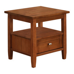 Simpli Home - Warm Shaker 20 x 18 inch End Table in Honey Brown - Good things really do come in small packages. Nothing could illustrate this better than the design of our Warm Shaker End Table which features one drawer and one open shelf providing plenty storage space. The table is sized perfectly to allow room for a table lamp, book and family photos. A perfect companion to any sofa or arm chair.