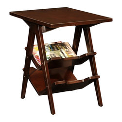 Leick Furniture - Leick Furniture Chevron Stacked Magazine End Table in Chocolate Cherry - Leick Furniture - End Tables - 10077 - Compact in scale this highly functional side table is a reader's dream offering versatile shelves to keep books magazines and tablets organized and in their place. With access from either side this table is a perfect complement between two chairs.  Durable solid wood construction with a hand applied Chocolate Cherry finish makes this end table stand out from the rest.  Add the matching coffee table and console table for a complete living room solution.
