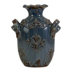 iMax - Small Cadet Vase - A hand-rubbed, aged finish embellishes the raised flourish accents of the small Cadet vase.