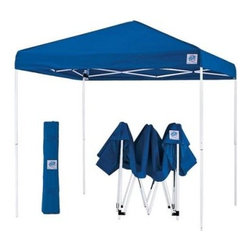 E-Z UP® 10 x 10 Pyramid® II Pop Up Canopy - Take the E-Z UP 10x10 Pyramid II Pop-Up Canopy with you to all of your outdoor events. The polyester top creates comfortable shade for you and your guests. The entire system weighs just 55 lbs and folds to 47 inches. It fits inside a conveniently included roller carrying bag. The A cathedral-style ceiling protects against the wind and rain. No tools are required for assembly the shelter will pop up and be ready to use in less than five minutes. Pull-pin sliders create effortless take down and stakes have been included for added stability. This shelter meets CPAI-84 fire resistant standards and includes a one-year warranty. Choose from several vibrant colors. 6 ft 8 inches walk under height 8 ft 6 inches overall height Ideal for the back yard beach or campsite! Includes carry bag with rollers for easy portability Pull pin legs for quick lock and release new and improved (on red tan and black models) High strength end cap for greater durability new and improved (on red tan and black models) Glide truss washers allow for increased stability and set up new and improved (on red tan and black models) International E-Z UP Inc. invented the portable quickly erectable shelter in 1983 and created a successful business with quality products and a reputation for fine customer service. For nearly two decades E-Z UP has been the industry leader in portable shelters with innovative designs that stand up to the test of time. Trust your special event to E-Z UP.