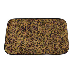 "Faux Fur Bath Mat, Leopard - ""Leopard"" Faux Fur Bath Mat, Size 20""x31"". Step into the jungle after every shower with our sizzling ""Leopard"" Skinned Faux Fur Bath Mat. This Large-Sized (20'' w x 31'' l) bath mat is soft, fast drying, and has a slip-resistant latex backing for added protection. Part of our Animal Instincts Collection, this mat coordinates perfectly with either our ""Sable"" or ""Sheena"" Faux Fur Shower Curtains as well as our ""Leopard"" Resin Shower Curtain Hooks, each sold separately.     Machine wash in warm water, line dry, reshape as needed"