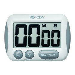 CDN TM15 Big Digit Timer - When every second counts  CDN timers are there to make sure that the job gets done right.  The CDN TM15 features extra large digits that you can see from a distance.  Count up and down features make this timer versatile for any job whether in or out of the kitchen.  Long loud alarm and count up after zero makes sure that you hear it go off from a distance.      Product Features                          Instrument Range: 100 minutes by min/sec            Counts up & down            Extra big digit            Loud and long alarm            Stop and restart            Last count recall            Counts up after zero            Food-safe ABS plastic            3-way mounting: magnet/stand/loop            Uses one AAA battery (included)            5 year warranty