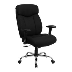 Flash Furniture - Flash Furniture Hercules Fabric Office Chair with Arms in Black - Flash Furniture - Office Chairs - GO1235BKFABAGG - Get the comfort needed to perform all work tasks in this stylish Big and Tall Office Chair by Flash Furniture. This executive chair comfortably fits users up to 350 lbs. Chair features height adjustable arms built-in lumbar support and a spring tilt mechanism.