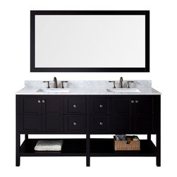 VIRTU - Virtu USA Winterfell 72 inch Double Sink Espresso Vanity with Carrara White Marb - Virtu USA Winterfell 60 inch Double sink vanity will give you that aesthetic pleasure by offering simplicity while still maintaining class. The Winterfell comes with four soft closing doors and drawers,and an Carrara White Marble top.