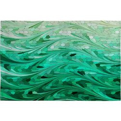 DENY Designs - DENY Designs Lisa Argyropoulos Emerald Sea Woven Rug - Art underfoot. A sea of emerald green waves formed from geometric shapes and soft, curving lines adorns this rug from artist Lisa Argyropoulos and DENY Designs. It's custom-created using a six-color printing technique that directly dyes the flat-woven jacquard fabric. The result is a fade-resistant floor covering with colors that stay fresh, vibrant, and brilliantly on display.Available in multiple sizesPolyester jacquardCustom printed for every orderFlat wovenBack side is whiteDry clean; hang dryDesigned by Lisa ArgyropoulosMade in the USAShips in 1 week