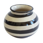 Small Round Striped Vase, Black - Add the finishing touch to your shelf or mantle with this cute little striped vase. It's great for holding flowers from your garden, or simply juxtaposed with your room's fun, bright colors. Talavera Vazquez's bubbly, round design and bold stripes will make this little guy a favorite for years to come.