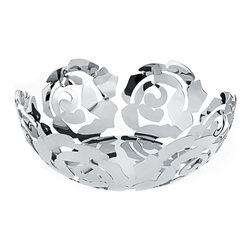 """Alessi - Alessi """"La Rosa"""" Fruit Bowl Small, Stainless Steel - This fruit holder is made of steel colored with flower red or platinum white epoxy resin or stainless steel mirror polished."""