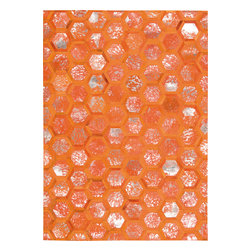 Nourison - Nourison Michael Amini City Chic MA100 (Tangerine) 8' x 10' Rug - The City Chic Rug Collection by Michael Amini embodies hair on hide distressed with a metallic finish. These hexagon tile rugs give off an urban, hip vibe, with a splash of bling that brings life to any room setting.