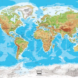 "World Map Wall Decal - Physical - Miller Projection - 89"" x 60"" - A physical map of the world in a large wall decal! This versatile world map wall decal will look great in a home, an office, lobby of a building, or in the classroom. The map is up-to-date with all the latest name changes up to 2012 and features major cities, capitals, rivers, lakes, glaciers, mountain peaks, and latitude/longitude lines. Topography and ocean bathymetry are both illustrated using colorful shading. Red outlines clearly mark country political boundaries. We offer this map on an easy to install peel and stick fabric. The self-adhesive peel and stick fabric is resistant to water, wrinkles, bubbling and tears. Unlike traditional wallpaper murals, this fabric goes up without causing any damage to the wall and will leave no residue. Since the fabric is repositionable you can simply peel it off and transfer it to another location."