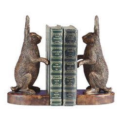OK Casting - Rabbits Standing Up Bookends - 0263-HM - Shop for Bookends from Hayneedle.com! Amuse visitors to your home or office by displaying your books in the whimsical Rabbits Standing Up Bookends. Constructed from polyresin in your choice of a honey maple or bronze hand-applied finish this pair of bookends shows two rabbits standing humorously alert on their hind legs with their ears straight up. Clever whimsical ... an excellent gift idea! Made in the USA. Dimensions: 3.5L x 5W x 10H inches.