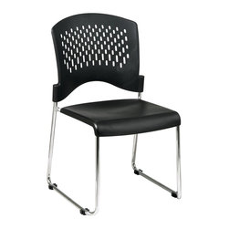 Office Star - Plastic Stacking Chairs - Set of 2 (30 Packs) - Choose Stack: 30 PacksPairs of black stacking chairs are practical as well as stylish.  Modern molded plastic chairs feature ventilated contoured backs for comfort, and brilliant polished chrome sled bases. Makes great extra seating at home, the office, or school. Set of 2 Chairs. Chrome frame. Assembled. 19 in. W x 23 in. L x 34 in. H