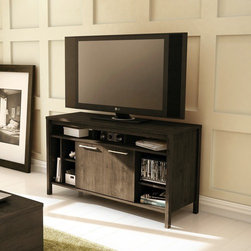 """South Shore - Spirit 49"""" TV Stand - The Spirit practical TV stand in Ebony finish features multiple horizontal and vertical compartments for all your storage needs. It includes three open spaces in the top section and three more in the centre for electronic devices, two sliding doors and a vertical compartment on the left-hand side which is divided into three sections, two of which are separated by an adjustable shelf, a perfect spot for vertical video game consoles, CDs and DVDs. In addition, the clean lines and side mouldings give the piece a refined, contemporary look. For complete interior dimensions, please see spec sheet. It is completed by a end and coffee table of the same collection (sold separately) to form a superb living room. It can accomodate a TV of up to 50-inch, its weight capacity is 185 pounds and the back is not laminated. Features: -Contemporary style.-Accommodates TV up to 50'' or 185 lbs.-Back not laminated.-Three open compartments for electronics.-Two adjustable shelf and sliding door.-Recycled CARB compliant laminated particle board construction.-Ebony finish.-Spirit collection.-Distressed: No.-Collection: Spirit.-Country of Manufacture: Canada.Warranty: -Manufacturer provides 5 year warranty against furniture defects or workmanship."""