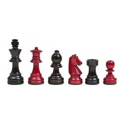 Cambor - Solid Maple Hand-Crafted Modern Staunton Chess Set - A contemporary color palette gives this hand carved chess set a fresh, modern appeal that makes it  perfect choice for urban designs. Finished in black and deep red, the chess set is made of solid maple and will be a stunning showpiece when displayed in your game room decor. Made of Wood. Hand crafted of Solid Maple. Heavily weighted. King: 3 in. H / Base: 1.125 in. dia.. 9 in. L x 6 in. W x 3 in. H (2 lbs.)