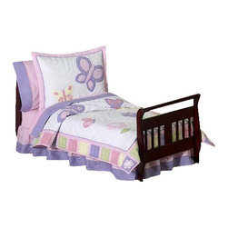 Sweet Jojo Designs - Butterfly Pink & Lavender Toddler Bedding Set - Break out the Big Girl bedding, your toddler is moving up in the world! She'll bloom when she sees the blossoms and butterflies that adorn this pink and lavender bedding set. Included is everything you need to create an inviting environment for your child's sleep: A comforter, fitted sheet, flat sheet, pillow sham and pillow case. This soft, non allergenic, machine washable set will be a staple in your child's room for years to come.