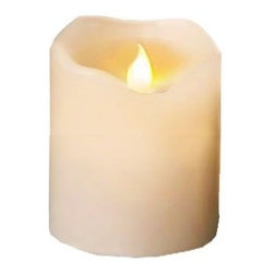 "Everlasting Glow™ - Everlasting Glow Motion Flame LED Candle (Warm White), 4"" Tall - Everlasting Glow Motion Flame LED candles virtually match the natural look of a traditional candle without the concern of an open flame. Enjoy the beauty, ambiance and warm glow of candlelight with the appeal of realistic flickering flames. Made of paraffin wax, each pillar candle is hand-poured and finished with a melted edge and a delicate vanilla scent for realism. The convenient timer will provide candlelight for 5 hours, turn off, then restart again at the same time the next day. Requires three high grade AAA batteries."