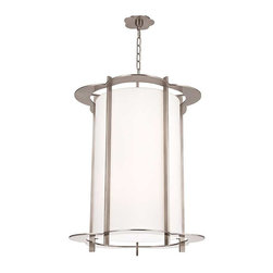 Hudson Valley Lighting - Hudson Valley Warwick I-10 Light Pendant in Polished Nickel - Hudson Valley Lighting's Warwick's I-10 Light Pendant shown in Polished Nickel. By the 1960s, a design evolution was gaining momentum. While continuing to embrace early modernism's enthusiasm for clean design, Mid-Century Modernists elevated expression and sculptural forms. Warwick enlivens a clean cylindrical shade with a floral-patterned cast metal frame. The playful curves of Warwick's outline complement its sleek vertical columns, for a look that is both fun and elegant.