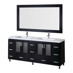 """Design Element - Stanton 72"""" Double Sink Vanity Set in Espresso - This 72"""" double-sink version of the Stanton vanity features quality wood cabinets and drawers an acrylic countertop with integrated sinks and chrome pop-up drains. Its handsome and understated look will complement any modern bathroom while the quality of its materials will ensure that its beauty won't fade over time. Moreover with a generous eleven drawers and two double-door cabinets this Stanton is also at the highest standard of utility in its class."""