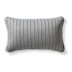 Frontgate - Cayden Stripe Blue Outdoor Lumbar Pillow - Beautiful accent pillow can be used both indoor and outdoor. 100% Sunbrella solution-dyed acrylic woven fabric. High-density polyester fill. Zipper closure. Spot clean with mild natural soap and water; air-dry only. Accent your outdoor living space with our plush Sunbrella Cayden Stripe Lumbar Outdoor Pillow inspired by coastal living. The Sunbrella solution-dyed fabric is woven, not printed, to retain its luster and pattern season after season.  .  .  .  .  . Trimmed with coordinating cord . Made in the USA.