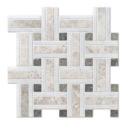 Silver Shadow Honed 12x12 Lattice Marble Mosaics -