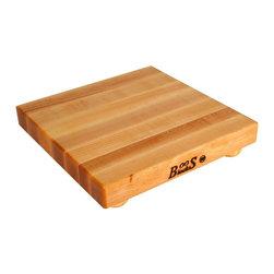 John Boos - Square Shaped Cutting Board w Bun Feet - Includes 4 wooden bun feet. Hard maple edge grain construction. Non-reversible cutting board. 12 in. L X 12 in. W X 1.5 in. H