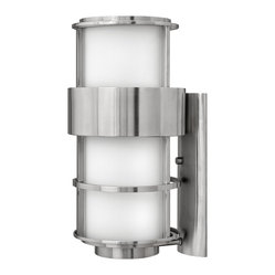 Hinkley Lighting - Saturn Large Outdoor Wall Lantern - Measures: 10 in. W x 20 1/4 in. H x 11 1/2 in. Ext. Comes in Stainless Steel Finish with Etched Opal Glass. Requires 1-100w Medium Based Bulb.