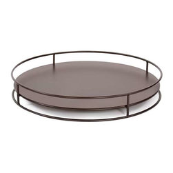 Howard Elliott No Tip Cylinder Tray Mahogany - Place the steel tray on top of your Cylinder to make it a table; put it on the bottom for a decorative base; or place it between two or more Cylinders to secure them in a stack. You can even use it on its own as a serving tray.