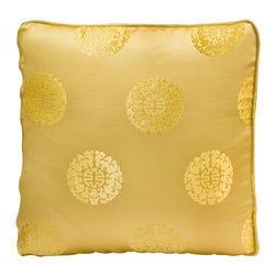 China Furniture and Arts - Silk Pillow - Longevity Symbol, Gold - Embroidered with traditional Chinese pattern. The oriental word longevity, the symbol of long life and good fortune, is brocaded on the luxurious golden silk. Mix or arrange decoratively on a sofa, bed, or chaise. Zipper cover removes for dry cleaning.
