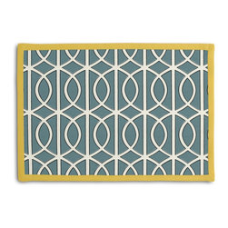 Aqua Modern Trellis Tailored Placemat Set - Class up your table's act with a set of Tailored Placemats finished with a contemporary contrast border. So pretty you'll want to leave them out well beyond dinner time! We love it in this rounded trellis in dark aqua & white on soft lightweight line. your gateway to a chic modern look.