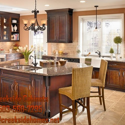 Cabinetry Ideas - kraftmaid cherry wood in Ginger stain with a Sable glaze.