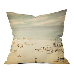 DENY Designs - Shannon Clark Vintage Beach Throw Pillow - Wanna transform a serious room into a fun, inviting space? Looking to complete a room full of solids with a unique print? Need to add a pop of color to your dull, lackluster space? Accomplish all of the above with one simple, yet powerful home accessory we like to call the DENY throw pillow collection! Custom printed in the USA for every order.