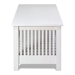 Coffey - side view - A traditional mission style furniture piece blended with contemporary and coastal design.
