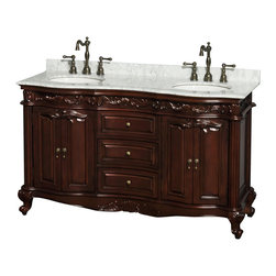 """Wyndham Collection - Edinburgh 60"""" Bathroom Vanity in Cherry,White Carrera Top,UM Oval Sinks, No Mirs - Form and function collide beautifully in the Edinburgh bathroom vanities. Inspired by the classic designs of Victorian England, this collection is a hallmark of taste and style, destined to become an heirloom and to lend a subtle grace to your bathroom environment. Richness of finish, beautiful composition and great attention to detail are the marks of this series."""
