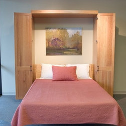 Murphy Beds - Murphy Bed in Prefinished Oak with Shaker Style Doors and added Side Cabinetry