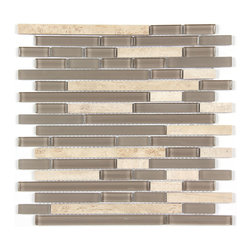 Stone & Co - Marble Mosaic Glass and Stone blend Random Strip 12 x 12 Mosaic Tile Mag-4443-ST - Finish: Polished / Shiny / Matt