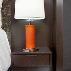 Floating Oak Nightstand - Custom made headboard mounted nightstands in oak with customized blackened steel handle.
