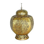 """Round Moroccan Style Lantern - Italian Gold Iron Round Moroccan Style Lantern Hand constructed by master craftsmen of iron & tole Hand-finished in a multi-step process 16"""" diameter/16.5"""" tall Weight: 5 pounds 24"""" detachable chain and 10"""" tall glass hurricane included"""