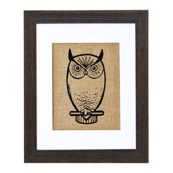 Fiber and Water - Nocturnal Owl Art - A symbol of mystery as well as wisdom, the owl is a classically captivating creature. Here, it's rendered in an unusual way — hand-pressed on natural burlap with water-based ink and housed in a distressed wood frame — to lend charm to your favorite setting.