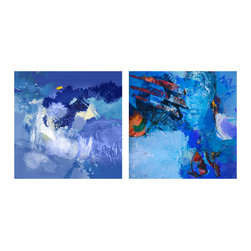READY2HANGART.COM - Ready2hangart Alexis Bueno Blue Abstract Study (2-PC) Canvas Wall Art Set - This abstract canvas art set is the perfect addition to any contemporary space. It is fully finished, arriving ready to hang on the wall of your choice.