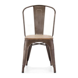 Bistro Dining Chair in Rustic Wood - It's no secret that the d̩cor of San Francisco's best restaurants is rich in flawless steel design pieces. Bring in a touch of our beautiful San Francisco restaurants with this Steel Bistro Chair. With a tall back, these chairs are ideal for dining and the inevitable aftermath of full-stomach lounging. Buy a set of four and pull together your dining room d̩cor.