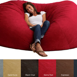 None - FufSack Memory Foam Microfiber 7-foot XXL Bean Bag Chair - Relax in the comfortable FufSack bean bag chair available in a variety of colors that will complement your current decor. This bag has a blend of memory foam and polyurethane foam for proper support. The microsuede cover is durable and stain-resistant.